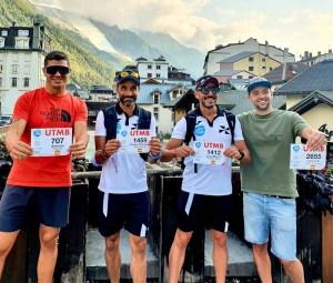 Peña, Cabillas, Borrego y González, en la salida de Chamonix