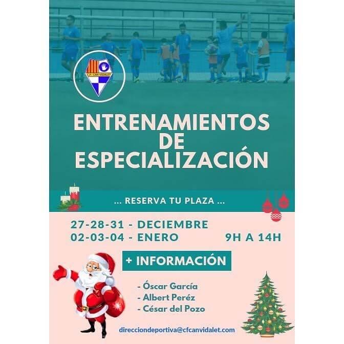 Reserva plaza para los entrenamientos de especialización.🔵⚪️ Del 27 de diciembre al 4 de enero. #esplugues  #cfcanvidalet  #canvidalet