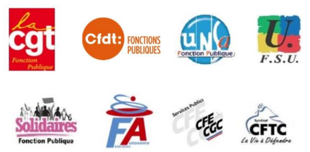 Logos FP CGT CFDT UNSA FSU SOLIDAIRES FA CGC CFTC