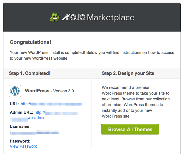 Bluehost wordpress installation complete | design your wordpress site