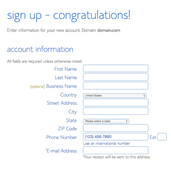 bluehost signup | Bluehost account information