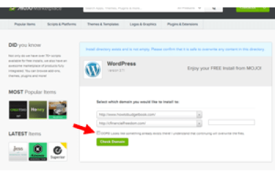 Check Domain to install wordpress on bluehost