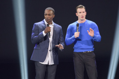 Anthony Mackie and Chris Evans at D23 Expo. Photo copyright Disney.