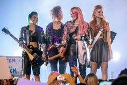 "(L to R) Aja (HAYLEY KIYOKO), Shana (AURORA PERRINEAU), Jem (AUBREY PEEPLES) and Kimber (STEFANIE SCOTT) in ""Jem and the Holograms"".  As a small-town girl catapults from underground video sensation to global superstar, she and her three sisters begin a one-in-a-million journey of discovering that some talents are too special to keep hidden. Photo Credit: Justina Mintz / Universal Pictures"