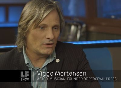 Viggo Mortensen on the Laura Flanders show.  Photo copyright Link TV