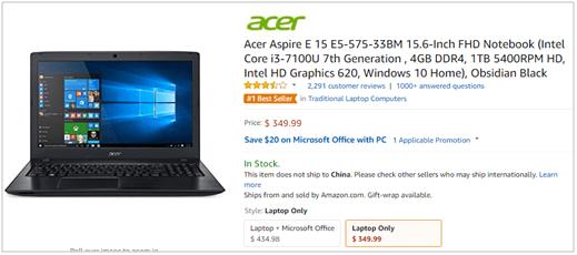 Best selling laptop - Acer Aspire E 15