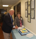 Pat Steed, Executive Director and Pat Huff, Council Chairman cut the 40th Anniversary Cake