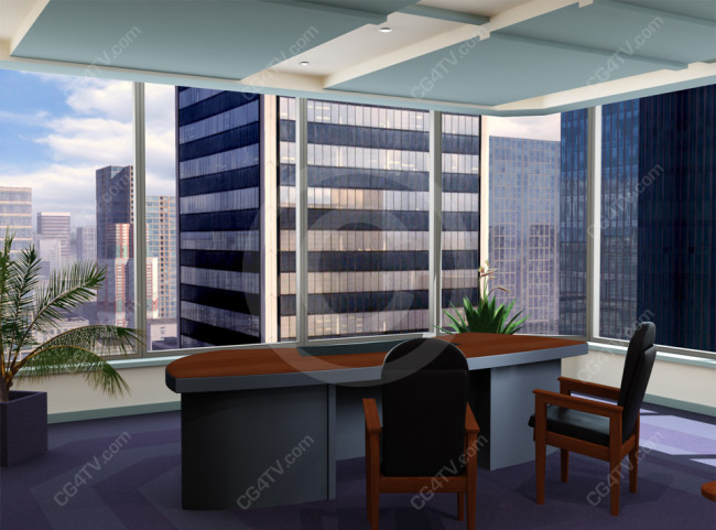 Corporate Corner Office Virtual Background