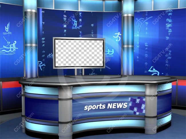 Sport Virtual Studio Set Blue Camera 7