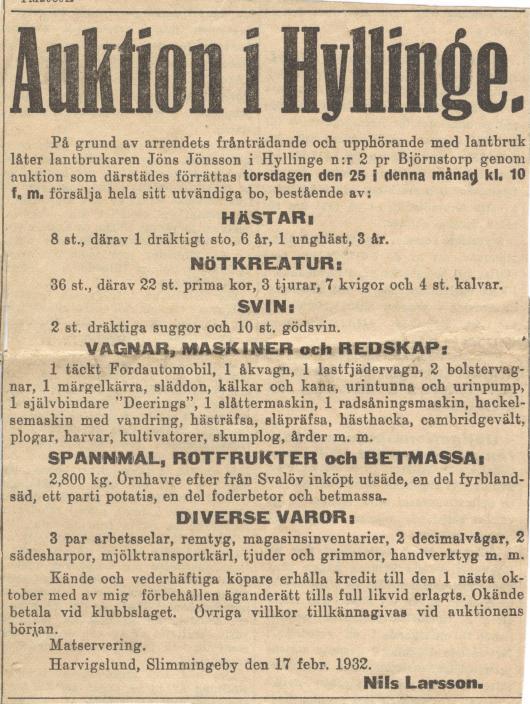 Jöns Jönssons auktion 1932 i Hyllinge