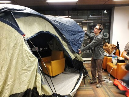 A tent was set up in the lobby for people to hang out in over the weekend.