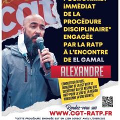 Arrêt immédiat de la procédure disciplinaire engagée par la RATP à l'encontre d'Alexandre EL GAMAL