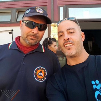 Marco Abbina of the URBE volunteer corps with a volunteer of IsraAID