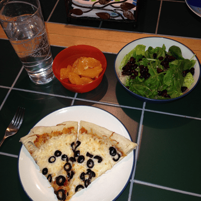 Tonight's Dinner 9-26-13 Homemade Pizza, Salad, and Fruit