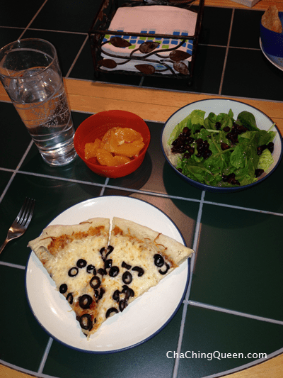 Homemade Pizza, Salad, and Fruit for Dinner