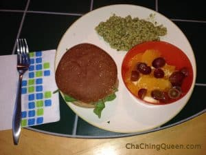 Tonight's Dinner 10-1-13 Burgers, CousCous, and Fruit