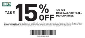 Softball and Baseball Coupons for Dicks 15% off