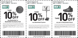 dicks sports coupons basketball december 2013