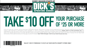 south county store dicks coupon november 2013