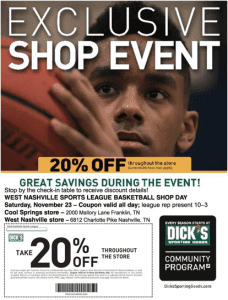 west nashville basketball dickssporting goods printablecoupons november 2013