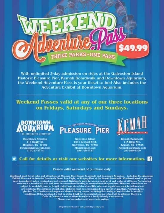 weekend adventure pass deal kemah boardwalk coupons
