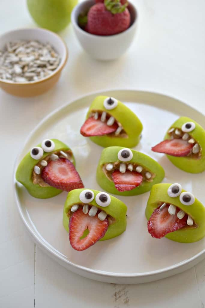 Silly Apple Bites Moster Faces Halloween Treat