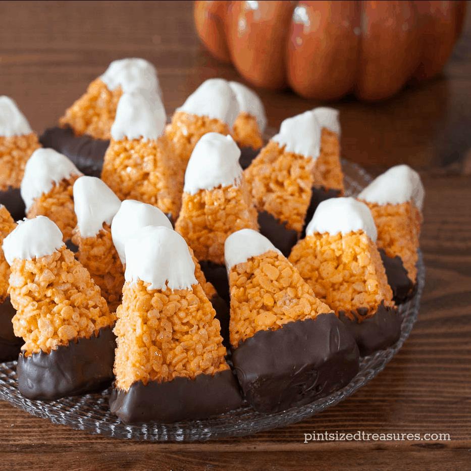 candy-corn- rice crispy treats halloween recipes
