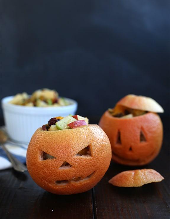 grapefruit jack o lanterns no sugar halloween treat healthy