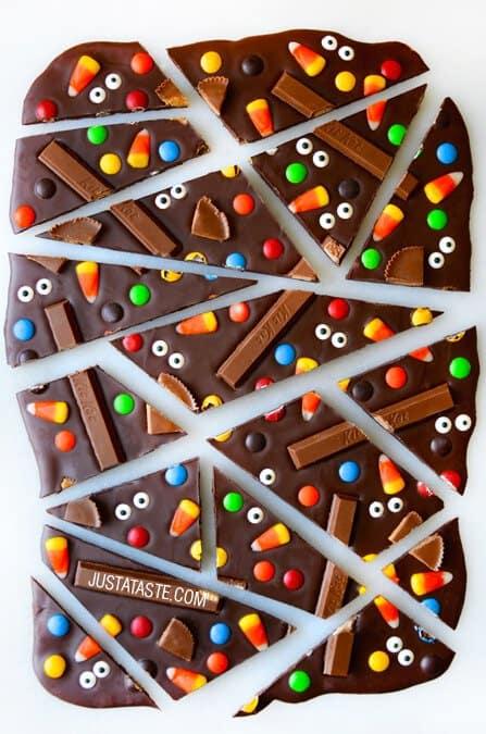 halloween candy chocolate bark
