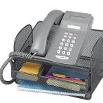Safco Onyx Angled Mesh Steel Telephone Stand - Black shelf organizer phone stand