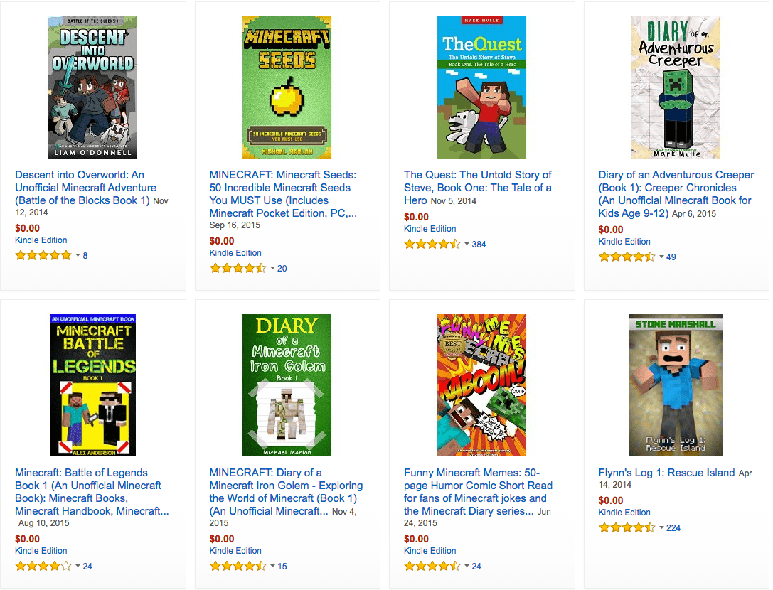 search free kindle books on minecraft kids books