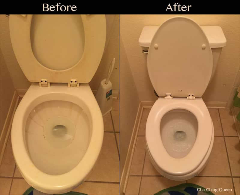 toilet before and after cleaning