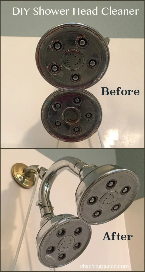 DIY Shower Head Cleaner for Hard Water Cleaning with Vinegar before and after