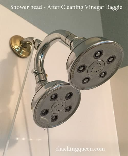 shower head after cleaning with vinegar baggie
