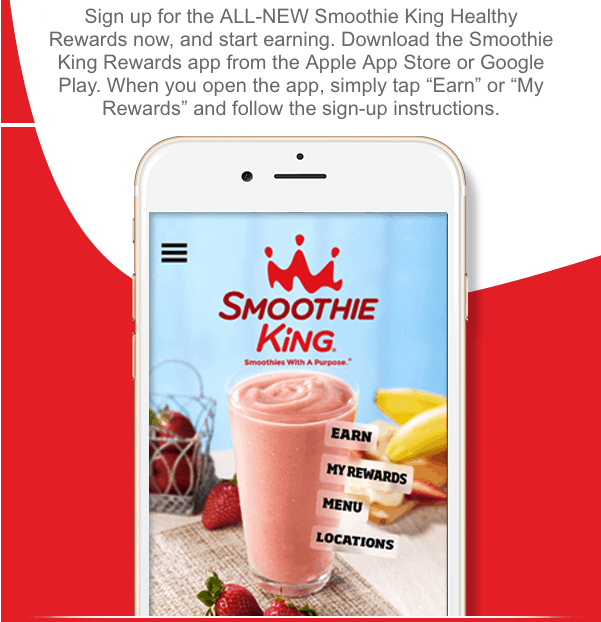 Earn Free Smoothie King Smoothies with Smoothie King Healthy Rewards app
