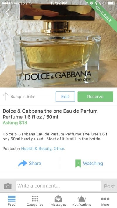 dolce and gabbana the one perfume eau de parfum used for sale varagesale
