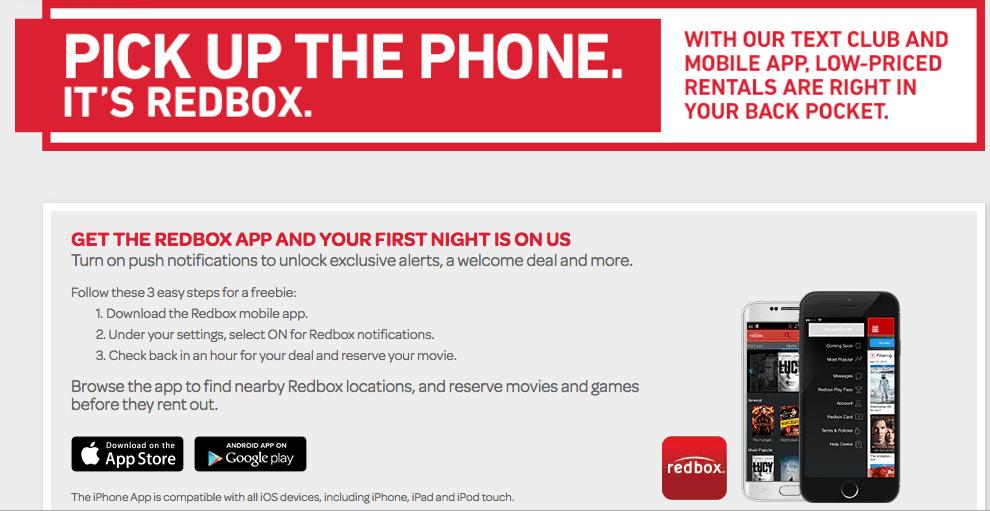 redbox app get a free movie rental