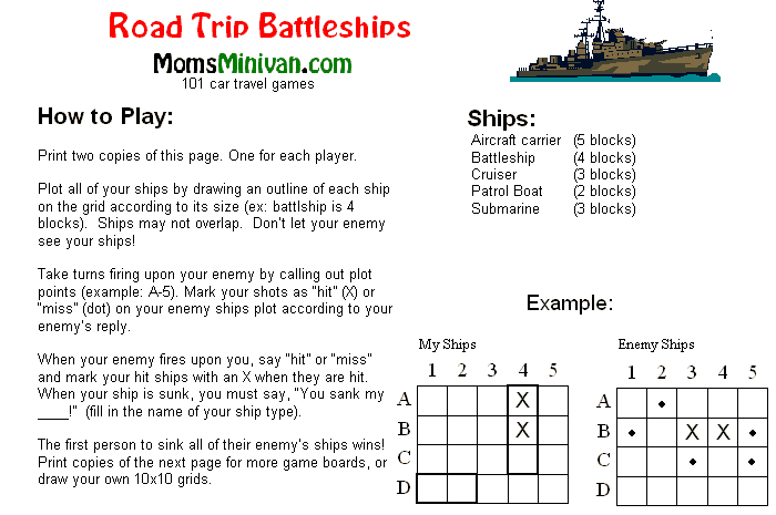 road trip battleship free printable