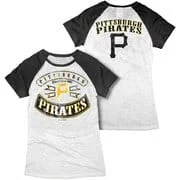 MLB - Pittsburgh Pirates White Women's Crewneck Burnout Raglan T-Shirt