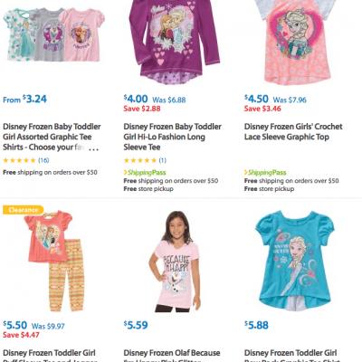 Clearance and Rollbacks Disney Frozen Shirts for Kids – As low as $3.24 each