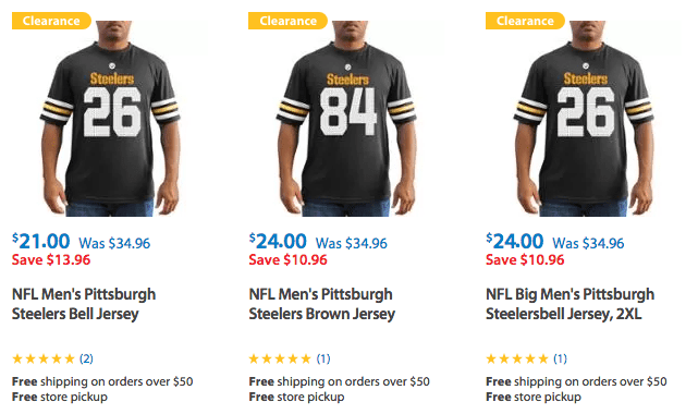 Clearance on Pittsburgh Steelers Apparel for shirts, football jerseys, and more