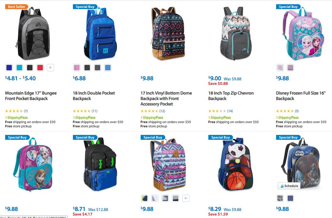 Discount on Lots of Backpacks kids walmart under 10 dollars