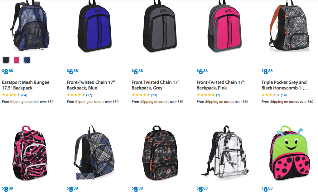Lots of Backpacks Under 10 dollars at Walmart discount