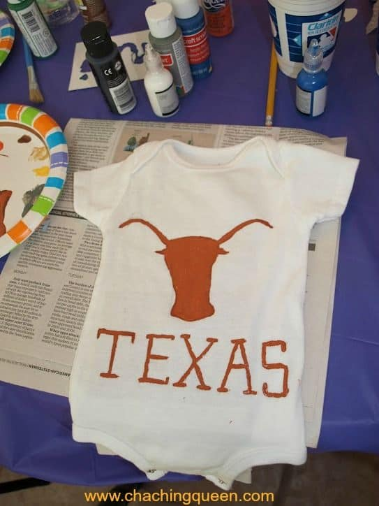 texas longhorns baby shower idea decorate onesies with paint