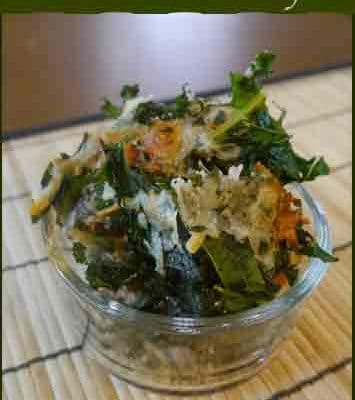 Baked Kale Recipe with added Mozzarella Cheese or Bread Crumbs