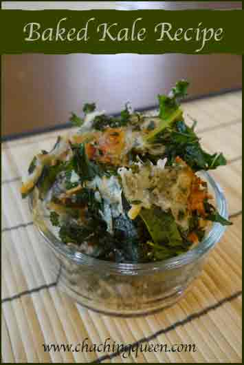 Baked Kale Chips Recipe with Mozzarella Cheese or Bread Crumbs