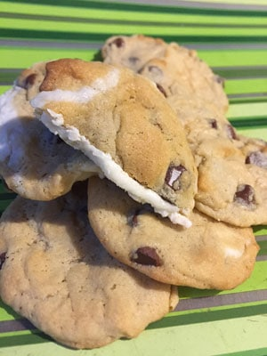 Cream Filled Chocolate Chip Cookie Recipe - Pile of Cookies