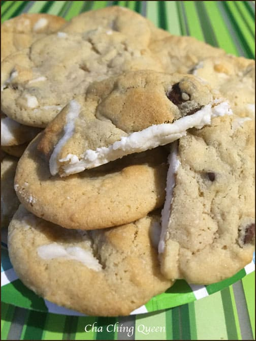Cream Filled Chocolate Chip Cookies Recipe with Buttercream Icing Inside