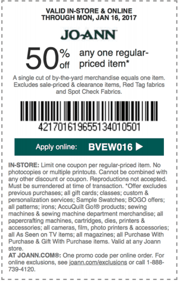 jo ann fabric printable coupon code january 2017