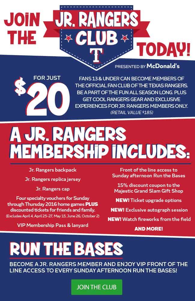 JR. RANGERS kids club for the Texas Rangers Baseball Team MLB